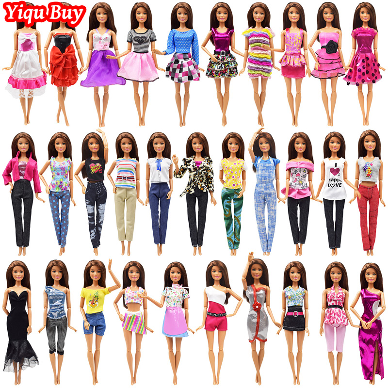 10 Pcs Princess Doll Fashion Outfit Handmade Daily T-shirt Shorts Clothes For Barbie Doll Noble Dinner Party Dress Accessories