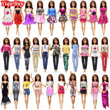 10 Pcs Princess Doll Fashion Outfit Handmade Daily T-shirt Shorts Clothes for Barbie Doll Noble Dinner Party Dress Accessories(China)