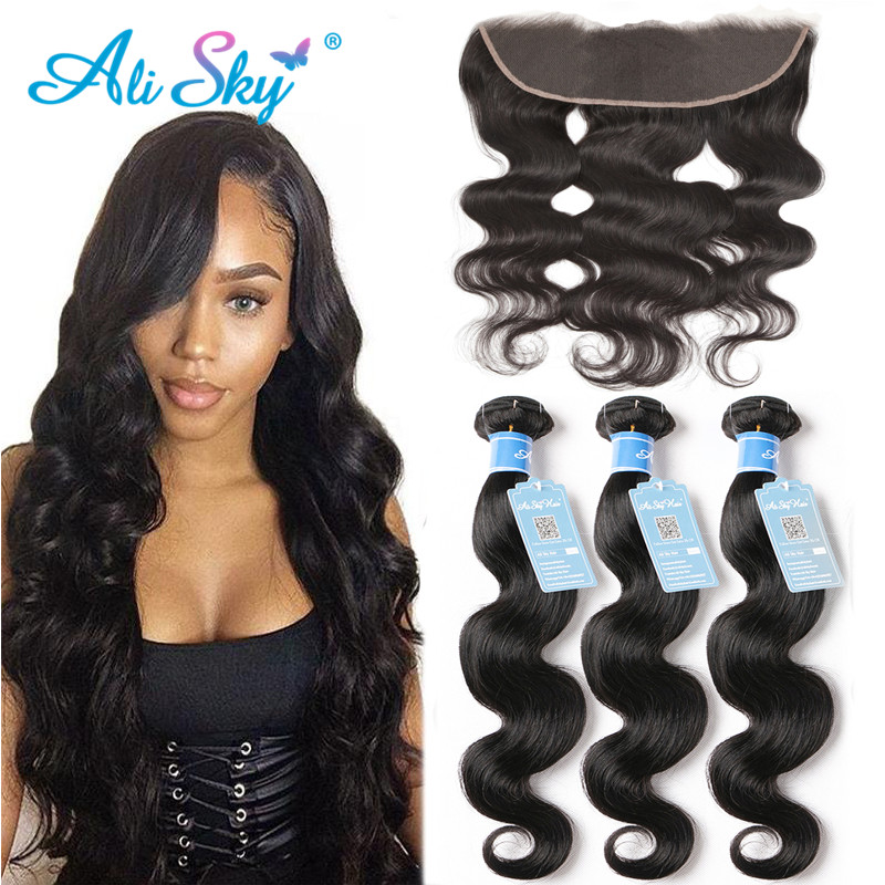 Ali Sky 3 Bundles With 13x4 Top Lace Frontal Brazilian Body Wave 100% Human Hair Pre Plucked With Baby Hair Remy High Ratio