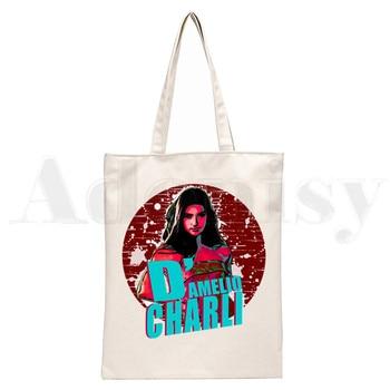 Ice Coffee Splatter Charli DAmelio Ulzzang Print Reusable Shopping Women Canvas Tote Bags Eco Shopper Shoulder Bags 17