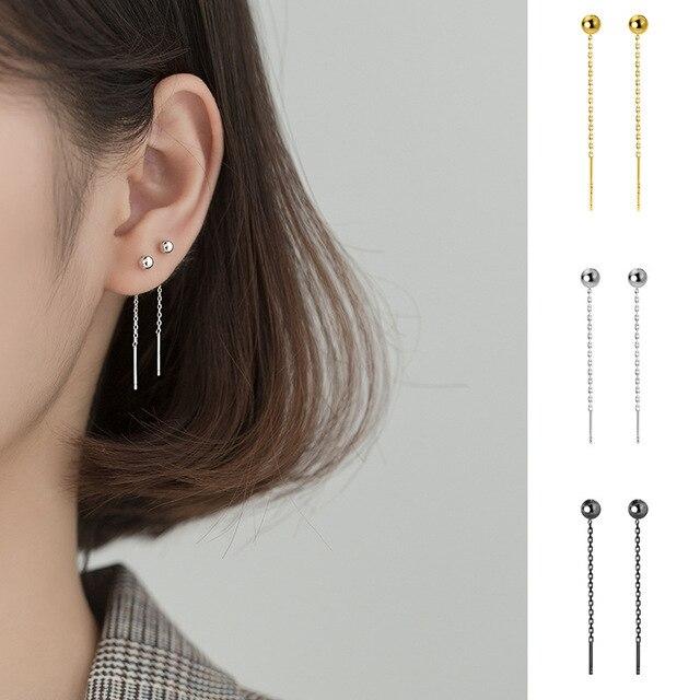 Trusta minimalist 925 Sterling Silver Stud Earring Little Bead Linked 4cm Stick For Women Creative Fashion Silver Jewelry DA866 1