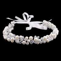 Handgemachte Perlen Kristall Braut Stirnband Tiara Crown Hochzeit Haar Zubehör Elegante Charming Kopfschmuck Frauen Haar Schmuck SL