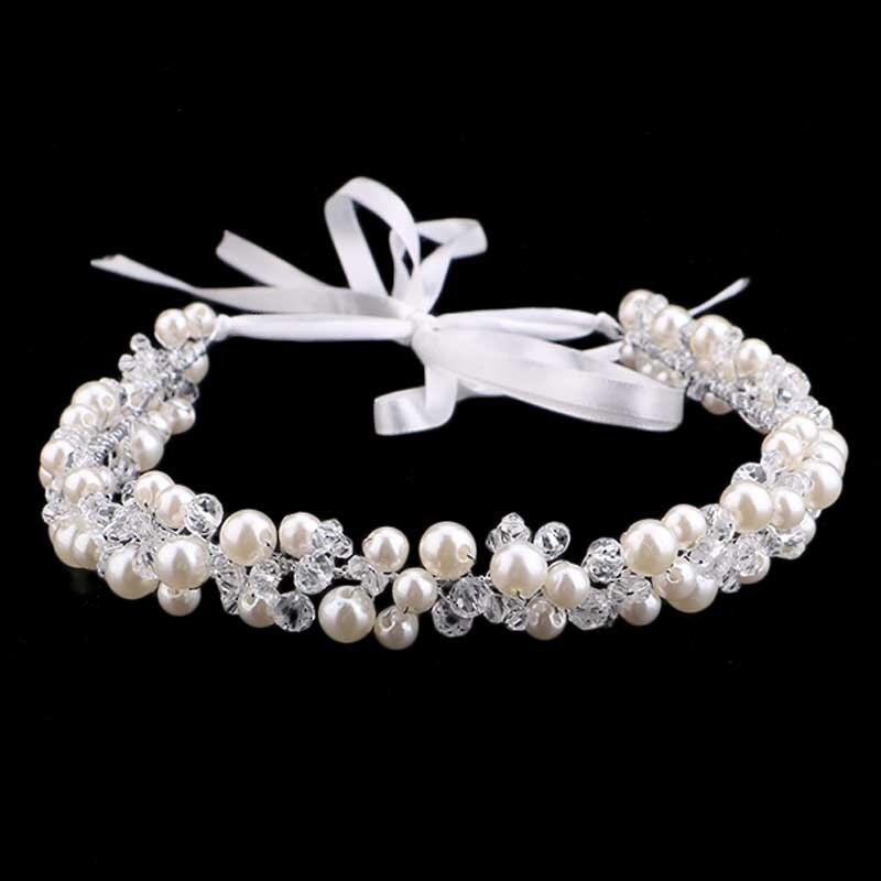 Handmade Pearls Crystal Bridal Headband Tiara Crown Wedding Hair
