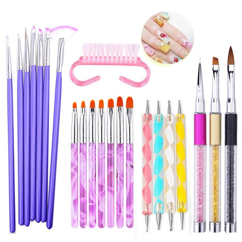 Nail Art Brush Pens Acrylic Nail Brushes UV Gel Nail Polish Painting Drawing Brushes Set Rhinestone Handle Manicure Tools Brush