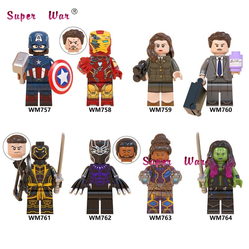 Single Avengers Endgame Captain America Iron Man Howard Carter Black Panther Shuri Gamora Hawkeye Building Blocks Kids Toys