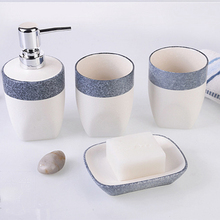 European-Style Bathroom Four Pieces Set Ceramics Soap Dispenser Toothbrush Cup Tumbler Dish Liquid Bottle