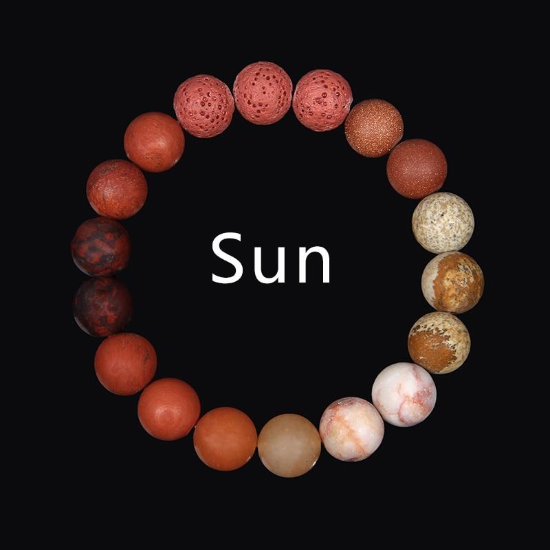 Planetas feitos à mão natural sol gem vermelho amarelo pedra pulseira universo homens e mulheres pulseira jóias diy presente entusiasmo lembrança