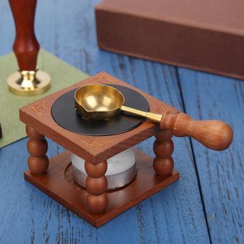 Retro Sealing Wax Furnace Stove Pot Wood Handle Sealing Wax Spoon for Wax Sealing Decorative Wax Sta