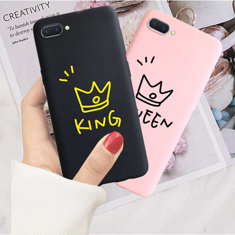 King and Queen <font><b>Case</b></font> For <font><b>Oppo</b></font> A1K A33 A37 <font><b>A39</b></font> A59 A3S A5s A5 A7 A71 A79 F5 F9 F3 K1 K3 A83 A9 2020 F11Pro Soft <font><b>Case</b></font> Back Cover image