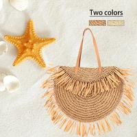Travel Storage Bag Semi circular Tassel Shoulder Bag PU Shoulder Strap Beach Straw Bag For Women Portable Storage Bag