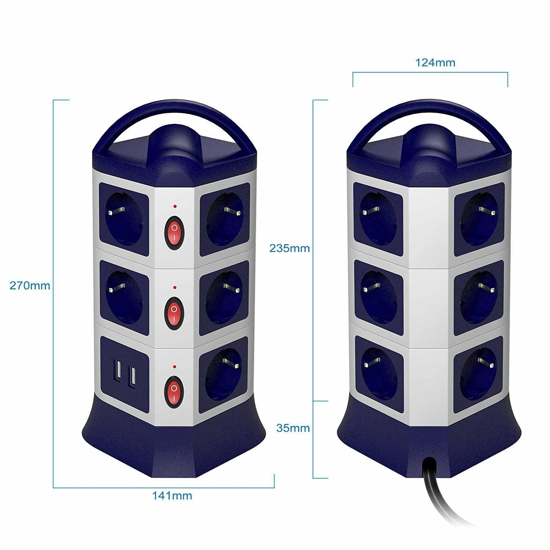 Menara Kekuatan Strip Outlet Usb 7/11 AC Uni Eropa Soket dengan 2 Port Secara Individual Switch 1.8 M/6ft Ditarik Ekstensi kabel