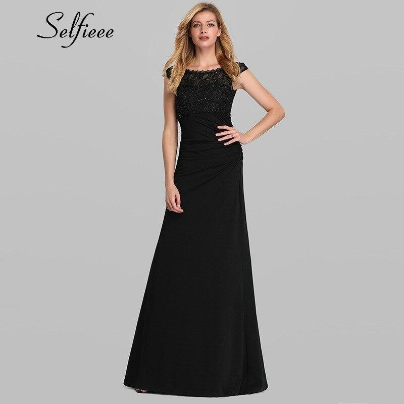 Élégant noir robes d'été a-ligne o-cou perlé Vintage femmes dentelle longue Maxi robes pour fête Robe Grande Taille Femme 2020