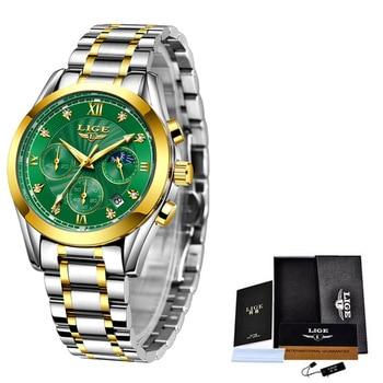 LIGE 2021 New Fashion Watch Women Watches Ladies Creative Steel Women Bracelet Watches Female Waterproof Clocks Relogio Feminino 9