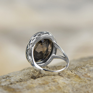 Image 5 - Real Pure Ring 925 Sterling Silver Smoky Quartz Antique Exaggerate Rings For Women Faceted Natural Stone Fine Jewelry Anillos