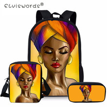 ELVISWORDS 3PC/Set Black Art African Girl Schoolbag For Girls Backpack Kids Orthopedic Backpacks School Teenagers Bag