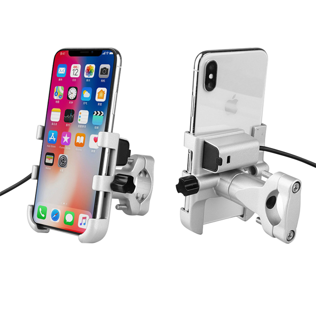 Universal Aluminum  Bike Motorcycle Phone Holder With USB Charger Support Moto GPS Handlebar Bracket Stand for SmartPhone Mount