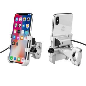 Image 1 - Uniwersalny aluminiowy uchwyt na telefon do motocykla z ładowarką USB wsparcie Moto GPS uchwyt na kierownicę stojak na uchwyt do smartfona