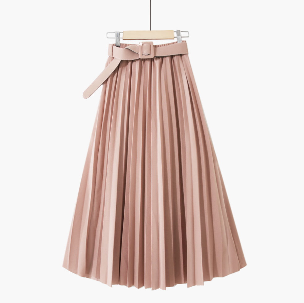 Faldas Mujer 2020 New Spring Pleated Skirts Women High Waist Solid Skirts Women Sweet Skirts Sashes Jupe Femme Saia Streetwear