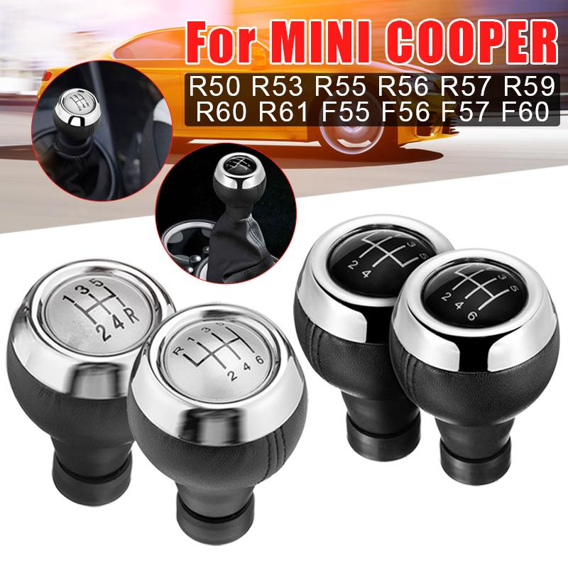 "0.59/""  6 Speed Gear Shift Knob Leather For Mini Cooper R55 R56 R57 R58 R59 R60"