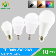 10pcs/lot LED Bulb Dimmable Lamps E27 E14 220V 240V RGB Led Bulb Smart IC Real Power 24W 20W 18W 15W 12W 9W Lampada LED Bombilla