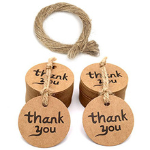 Tags Packaging Thank-You Brown Hang Round for Wedding Party-Decoration-Tags Stationery