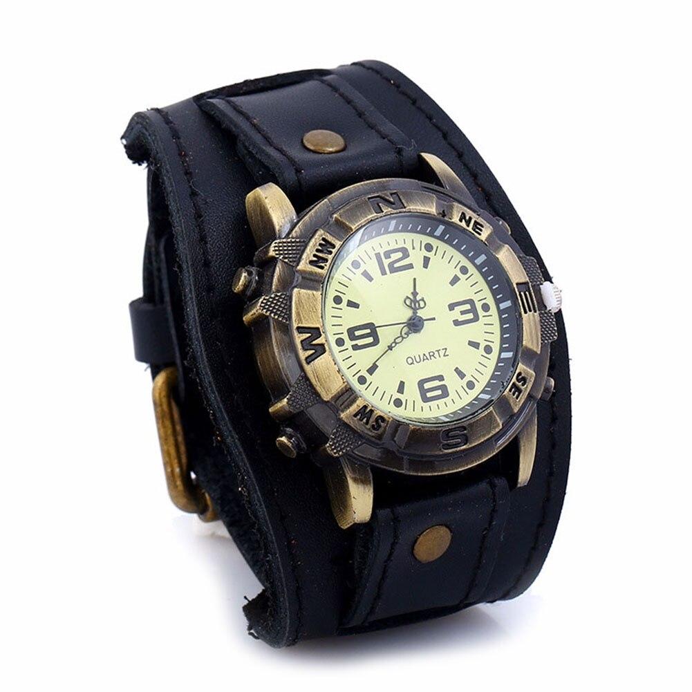 Men Women Bracelet Watch Punk Vintage Cow Leahter Alloy Wristwatch Casual Watches Gift UND Sale