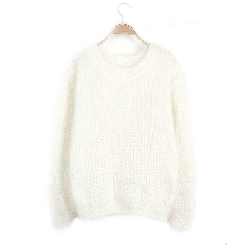 풀오버 가을 겨울 여성 o-넥 스웨터 느슨한 니트 숙녀 스웨터 여성 플러스 사이즈 캐주얼 솔리드 컬러 플러시 스웨터 # qwe