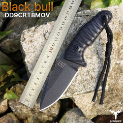 Black bull Small straight knife G10 Handle 9CR18MOV north American hunting knife Outdoor survival camping edc knife