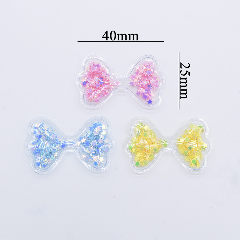 32Pcs 40*25mm Sweet Bow Tie Patches for Baby Girls Hair Clips DIY Crafts Supplies Shake Star Appliques Hairband Accessories