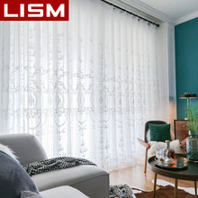 Embroidered White Sheer Curtains Window Tulle Curtains for Living Room Bedroom Kitchen Voile Curtains Fabric Drapes For Window 1 pair of sheer window tulle fabric curtains