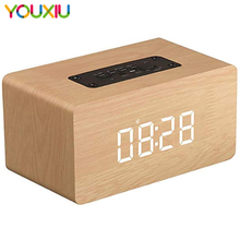 Bluetooth Speaker Digital Alarm Clock Wooden V4.2 Portable Wireless 10W Dual Driver Speakers LED TF-Card AUX FM Radio for iPhone ihome id95sz silver dual alarm with fm ipod