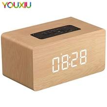 цена на Bluetooth Speaker Digital Alarm Clock Wooden V4.2 Portable Wireless 10W Dual Driver Speakers LED TF-Card AUX FM Radio for iPhone