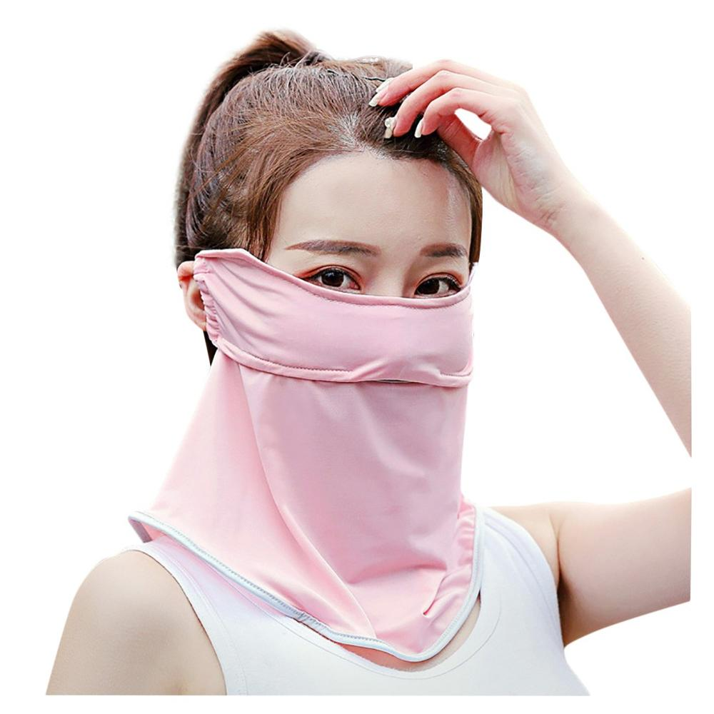 Sunscreen UV Sunshade Face Mask Dustproof Neck Protector Ice Silk Face Mask Multifunctional  Dustproof Solid Color Popular