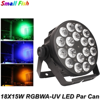 Aluminum Alloy LED Flat Par 18X15W RGBWA-UV 6IN1 LED Par Can DMX512 Stage Lighting Effect For DJ Disco Party Projector Nightclub aluminum alloy led flat par 18x15w lighting dj par cans rgbwa dmx512 light dj wash lighting stage light disco party decorations