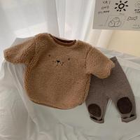 2021 Baby Spring New Warm Plush Bear Bodysuit Toddler Girls Fleece Clothes Infant Boys Jumpsuit