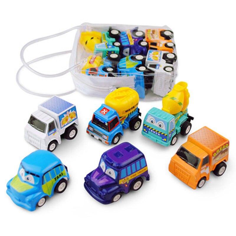 6pcs Mini Pull Back Car Toys Children Racing Car Baby Mini Cars Cartoon Pull Back Bus Truck Kids Boy Toys K0044