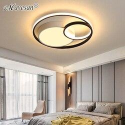 Moderne plafonnier LED rond gris couleur et blanc noir couleur salon chaud romantique chambre Hall lampes étude chambre lampes