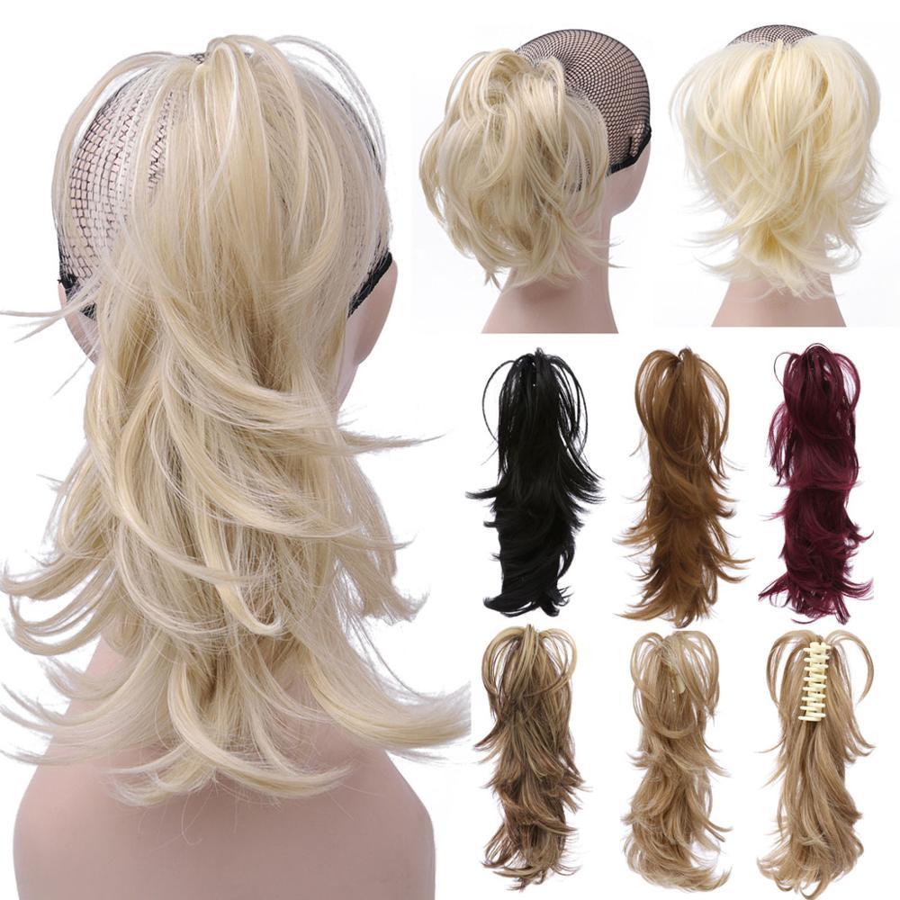 14 дюймов Синтетический Коготь Конский хвост или шиньон стильные волосы Exension грязные волнистые конский хвост пучок шиньоны