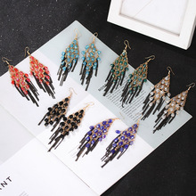 Explosive Creative Rhinestone Water Drop Hollow Air Quality Earrings Pop Exaggerated Rhombus Tassel Alloy Earrings