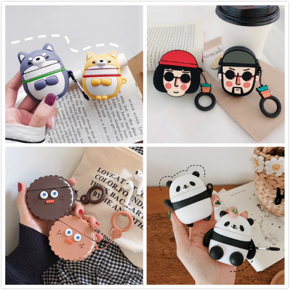 Silicone Earphone Case For Airpods 2 Case 3D Cartoon No Face Man Cover Protective Skin Cover For Apple Air Pods For Earpods Case
