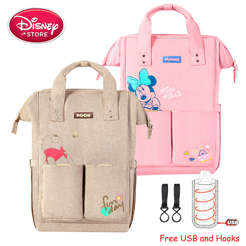 Disney Mummy Diaper Bags With USB Maternity Nappy Nursing Bag For Baby Care Waterproof Travel Maternity Backpack Disney Handbag