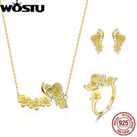 WOSTU 100% Real 925 Sterling Silver Golden Color Butterfly Stud Earrings & Necklace & Rings Jewelry Sets For Women Wedding Gift