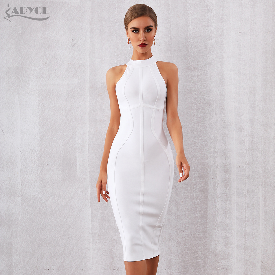 ADYCE 2019 New Summer White Women Bandage Dress Vestidos Elegant Tank Sexy Sleeveless Bodycon Club Celebrity Runway Party Dress