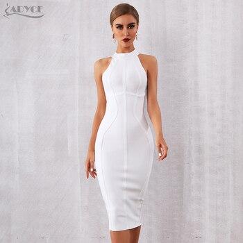 ADYCE 2019 New Summer White Women Bandage Dress Vestidos Elegant Tank Sexy Sleeveless Bodycon Club Celebrity Runway Party Dress