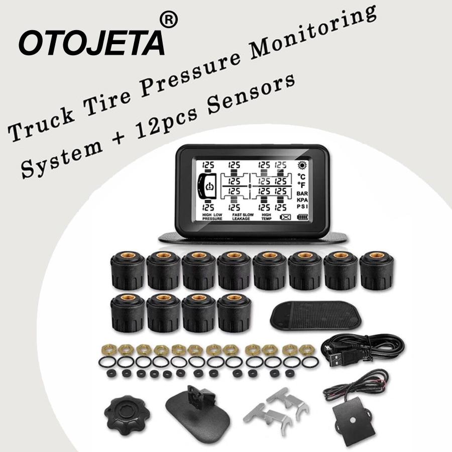 Upgraded version Tire Pressure Monitoring System Car TPMS 6/8/10/12 Sensors for Truck Trailer,RV,Bus,Miniature passenger car