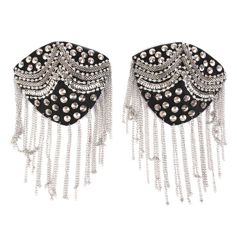1 Pair Of Skirt Tassel Link Chain Rivet Pushers Epaulet Shoulder Strap Badge, Silver + Black