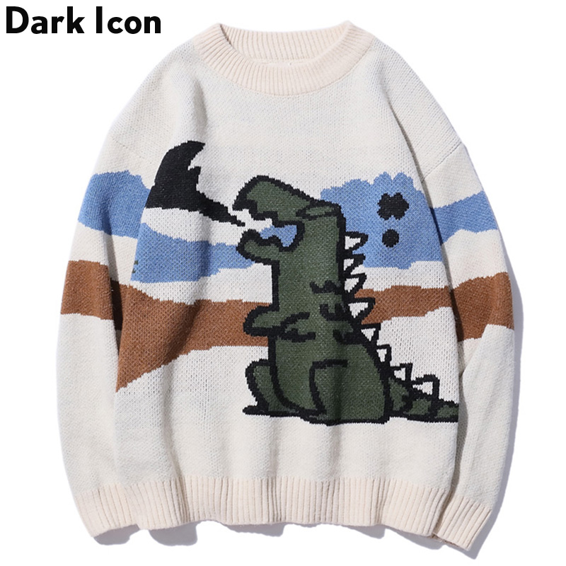 Round Neck Loose Dinosaur Sweater 2019 Autumn Korean Style Knitting Pull Sweater Mens Harajuku Casual Outwear Men Clothes