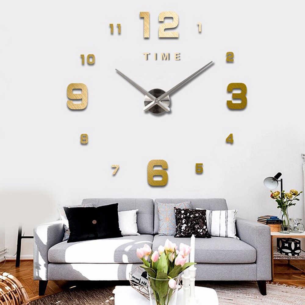 47 بوصة ساعة حائط تصميم عصري كوارتز ساعات موضة ساعات مرآة ملصق غرفة المعيشة ديكور ثلاثية الأبعاد لتقوم بها بنفسك ساعة حائط أكريليك كبيرة