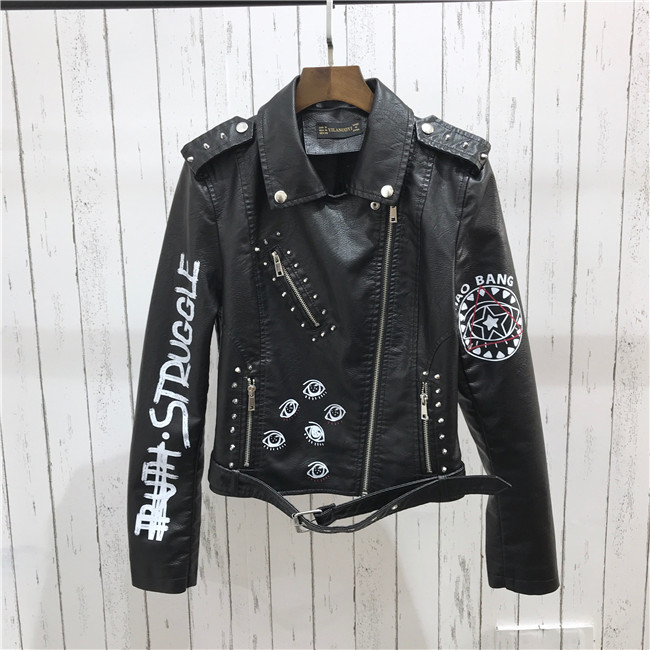 H980786cc24ec4b34b6647869f5ddb9bam 2021 New Autumn Women Winter Faux Soft Leather Jackets Coats Lady Black PU Rivet Zipper Epaulet 3D print Motorcycle Streetwear