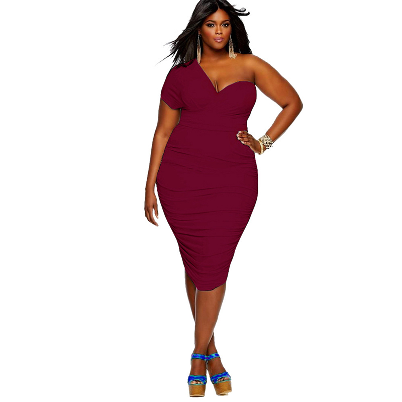 Summer <font><b>sexy</b></font> evening party One Shoulder <font><b>club</b></font> wear midi <font><b>dress</b></font> black women 2020 plus size 3XL <font><b>4XL</b></font> 5XL Bodycon Ruched Pleat vestidos image